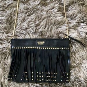Black fringe cross body bag